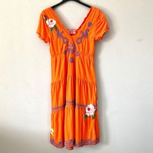 Johnny Was Embroidered Peasant Dress Orange V-Neck